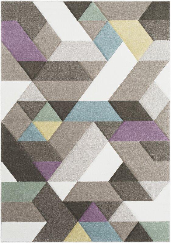 Mott Street Modern Geometric Carved Gray/Purple Area Rug