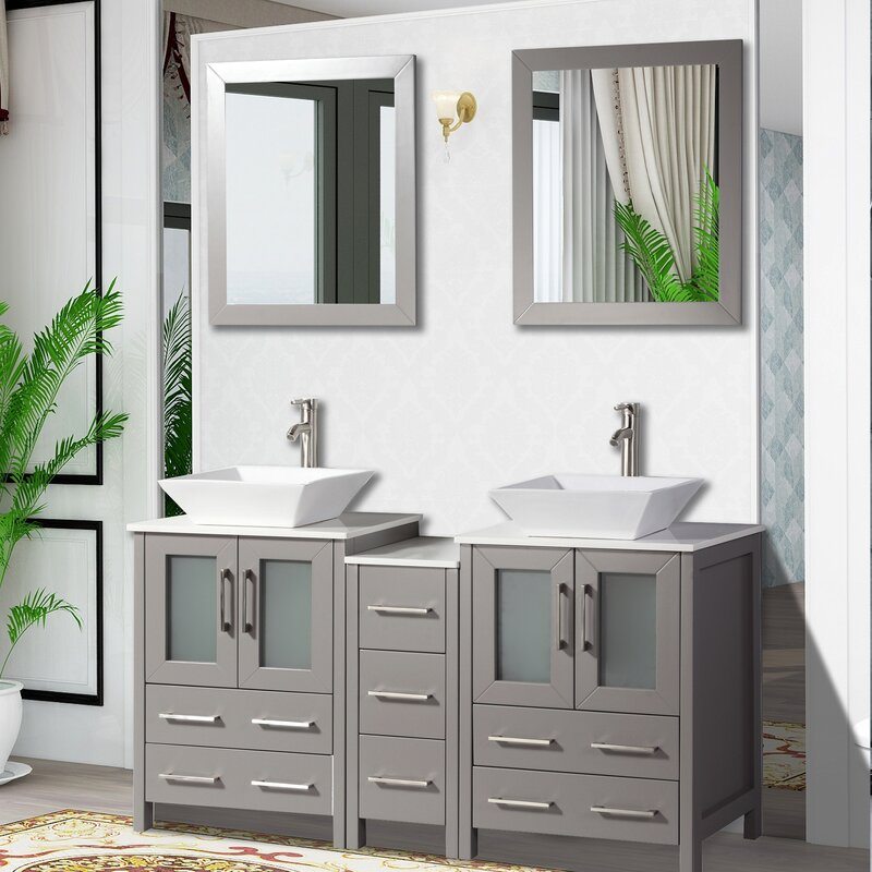 Brayden Studio Mehara 60 Double Bathroom Vanity Set With Mirror Reviews Wayfair