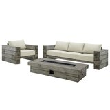 Novalee 3 Piece Sectional Seating Group with Sunbrella Cushions by Millwood Pines