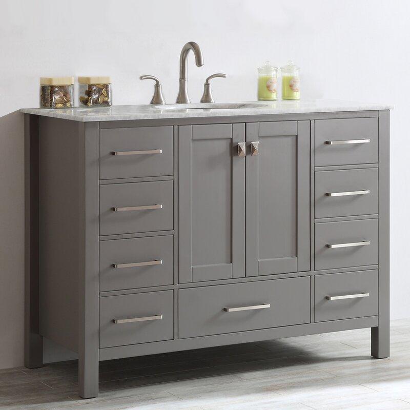 Newtown 48  Single Vanity SetSingle Vanities You ll Love   Wayfair. Single Vanity Cabinet With Sink. Home Design Ideas