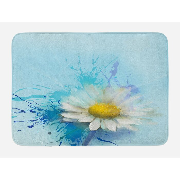White Blue Flower Bath Rug