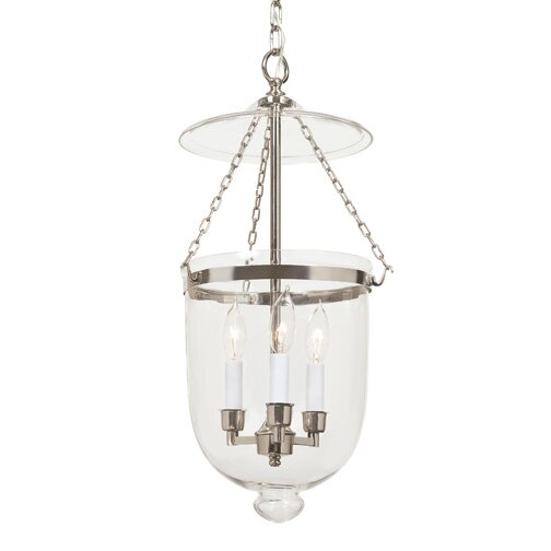 3-Light Medium Bell Jar Foyer Pendant