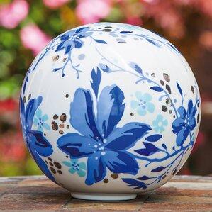 Azure Afternoon Flowers Ceramic Gazing Globe