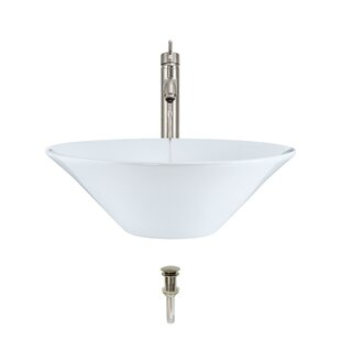 Vitreous China Circular Vessel Bathroom Sink with Faucet by MR Direct
