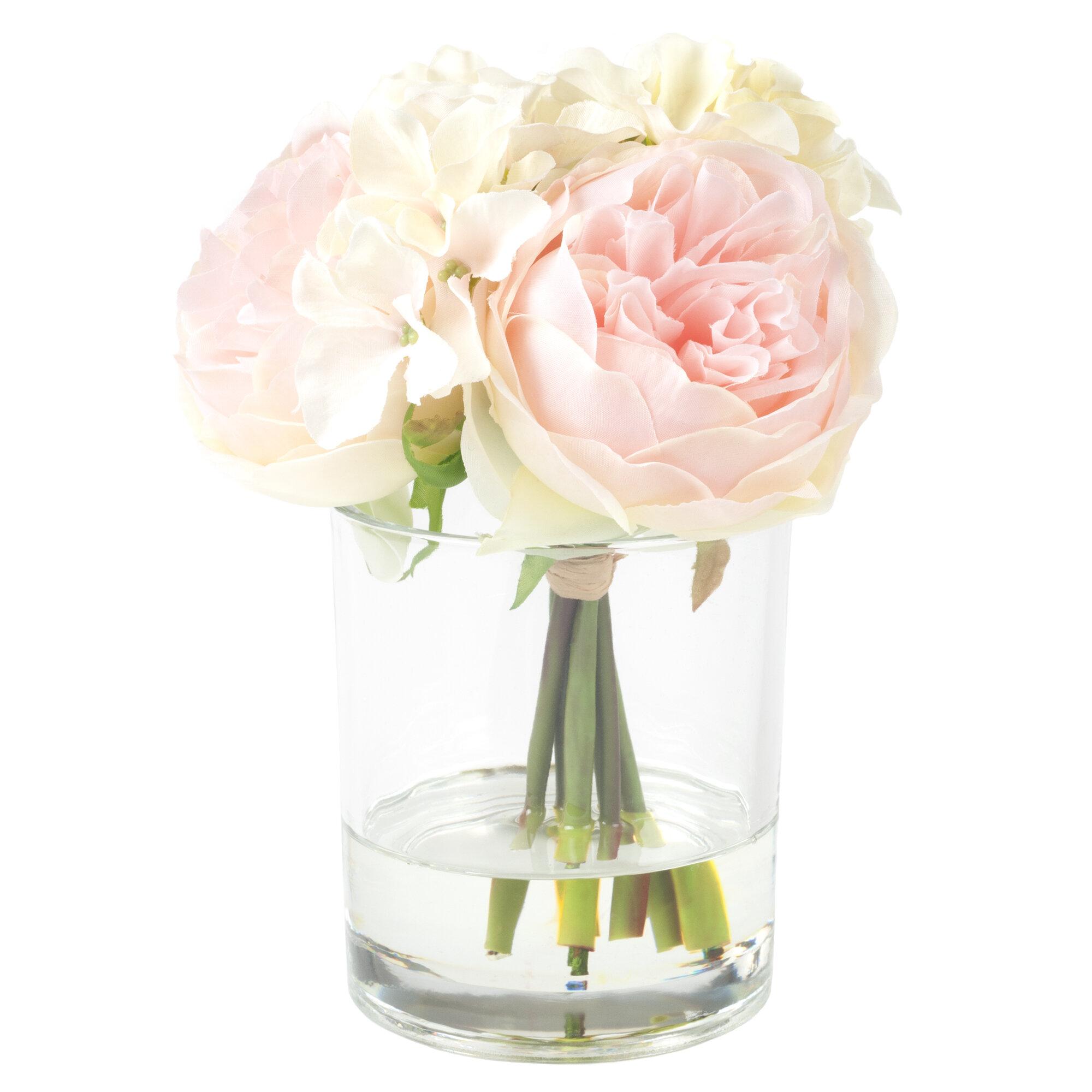 Hydrangea And Rose Floral Arrangement In Glass Vase Reviews Allmodern