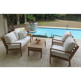 Pritchard 5 Piece Teak Sunbrella Sofa Seating Group with Sunbrella Cushions