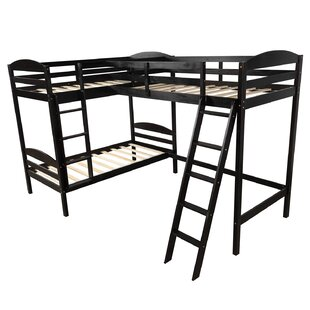 Ranchester Twin over Twin LShaped Bunk Bed with Shelves