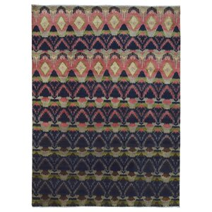 Hand-Woven Rectangle Wool Navy/Peach Area Rug