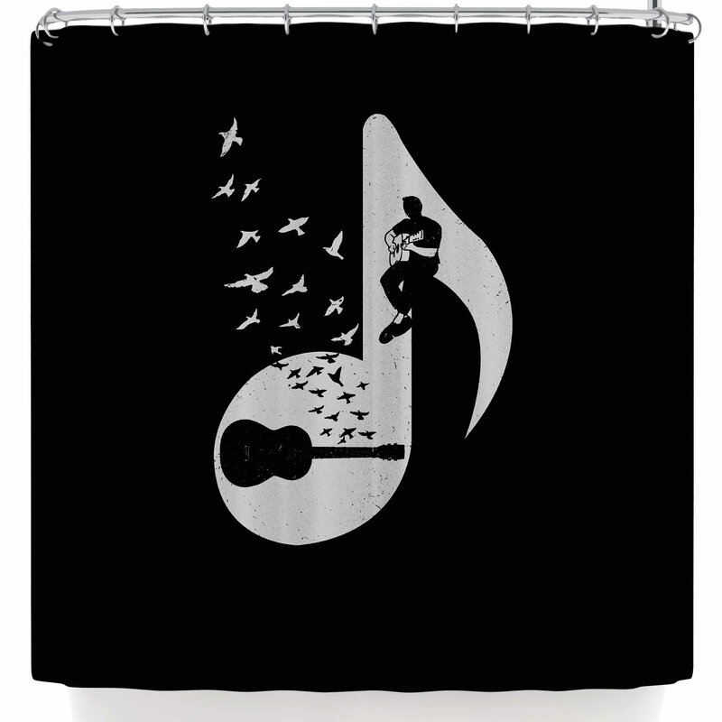 BarmalisiRTB Musical Note Acoustic Guitar Shower Curtain