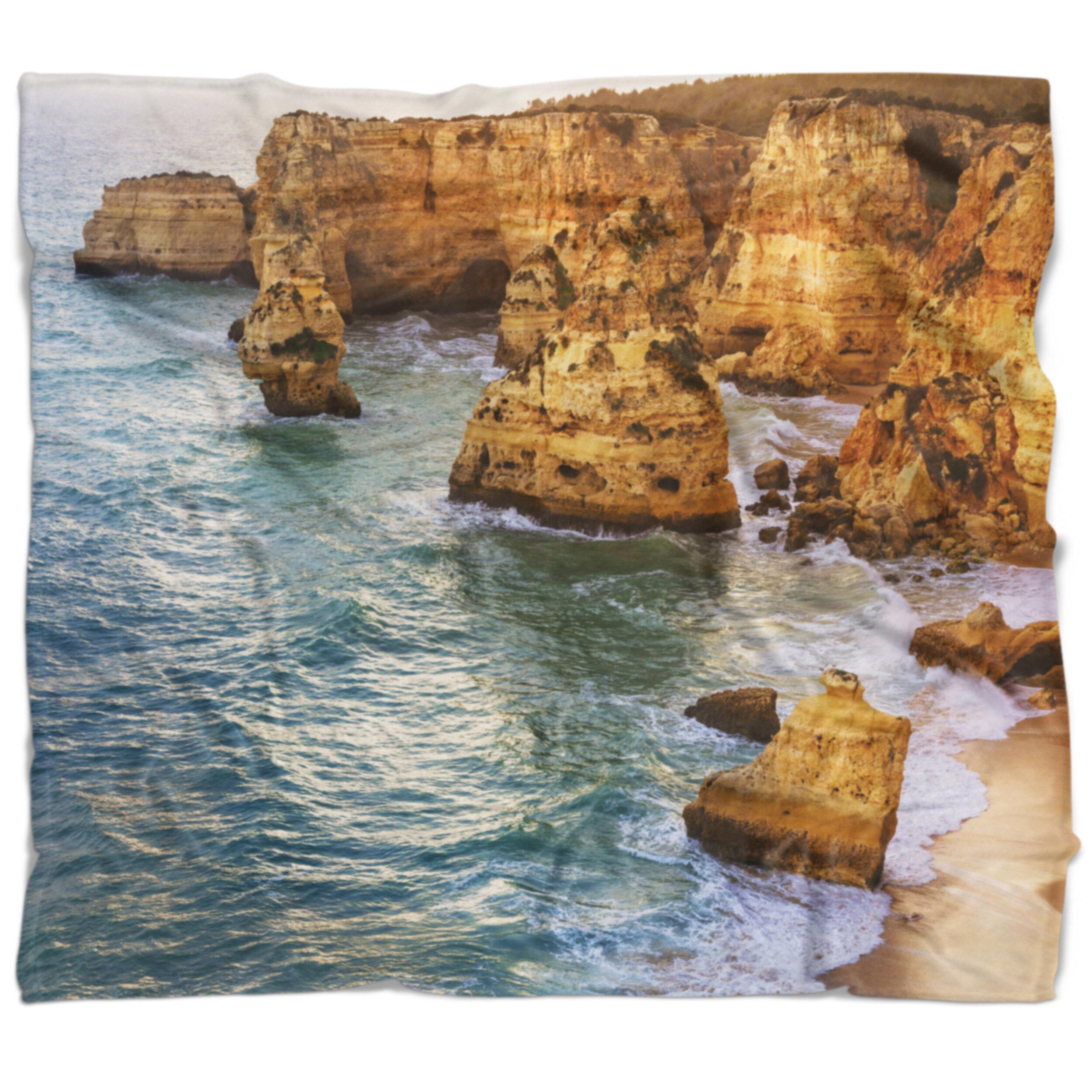 East Urban Home Seashore Rocks And Beach At Algarve Blanket Wayfair