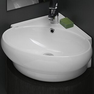 Comparison Mini Ceramic 20 Corner Bathroom Sink with Overflow By CeraStyle by Nameeks
