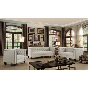 Broughtonville Chesterfield 3 Piece Velvet Living Room Set by iNSTANT HOME
