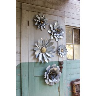 5 Piece Galvanized Metal Flower Hanging Wall Décor Set