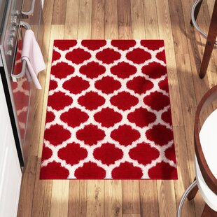 Read Reviews Broxton Modern Trellis Red Area Rug By Wrought Studio