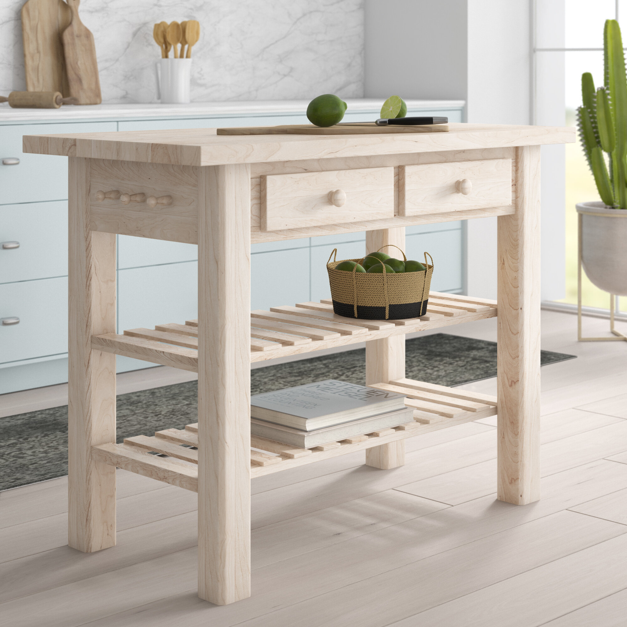Mistana Kailee Kitchen Island With Butcher Block Top Reviews Wayfair
