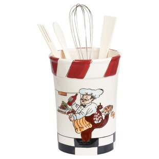 5 Piece Chef Ceramic Utensil Crock Set