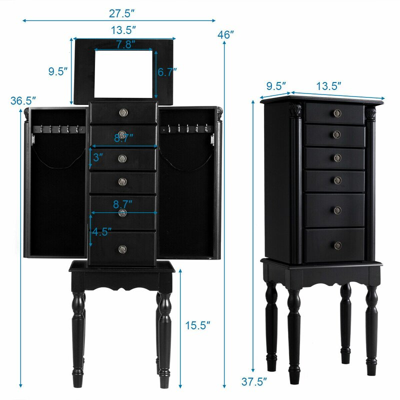 Espresso Ladies Crystal Jewelry Armoire 6 Pull-Out Drawers Mirrored Top Lid