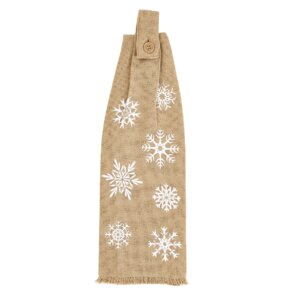 Snowflake Burlap Button Loop Kitchen Towel (Set Of 2)