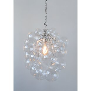 Read Reviews Gilkes High Glass Bubble 1-Light Pendant By Ivy Bronx
