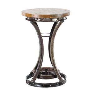 Arla Industrial Teak and Iron Rim End Table by Williston Forge