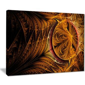 East Urban Home Golden Fractal Desktop Wallpaper Graphic