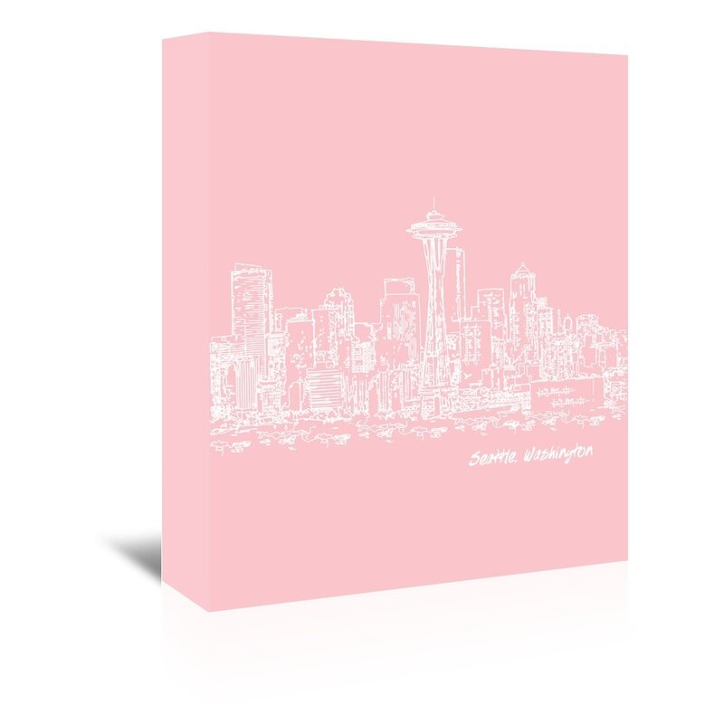 East Urban Home Skyline Seattle 9 Graphic Art On Wrapped Canvas In Pink Wayfair