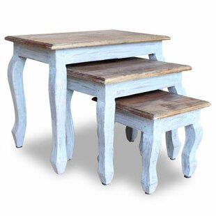 Alexandria Solid Reclaimed Wood 3 Piece Nesting Tables