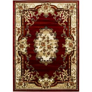 Raposo Hand-Carved Red/Beige Area Rug