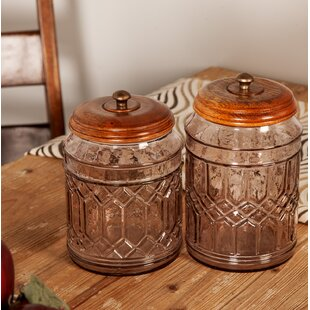 Vicknair Round Textured Glass 3 Piece Storage Jar Set