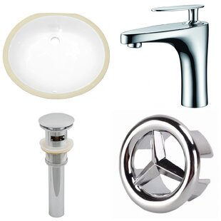 Check Prices Ceramic Oval Undermount Bathroom Sink with Faucet and Overflow By American Imaginations