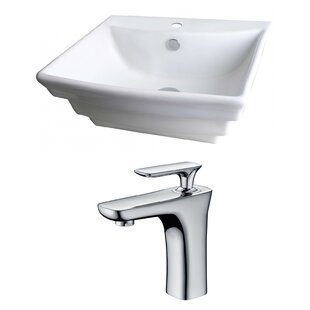 Savings Ceramic 20 Wall Mount Bathroom Sink with Faucet and Overflow By American Imaginations