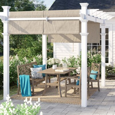 Ansonia 10 W X 10 D Vinyl Pergola With Canopy by Sol 72 Outdoor Herry Up