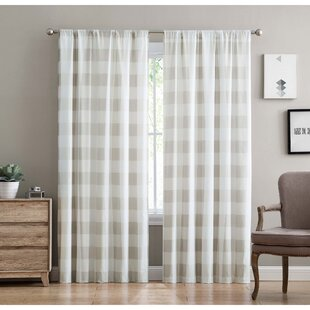 Vintage Linen Brown Plaid Grommet Blackout Lined Curtain Textured Jacquard Weave Fabric Housewares Window Treatment Drapes Curtain Panels