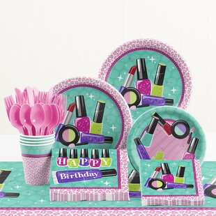 81 Piece Sparkle Spa Party Birthday Paper/Plastic Tableware Set
