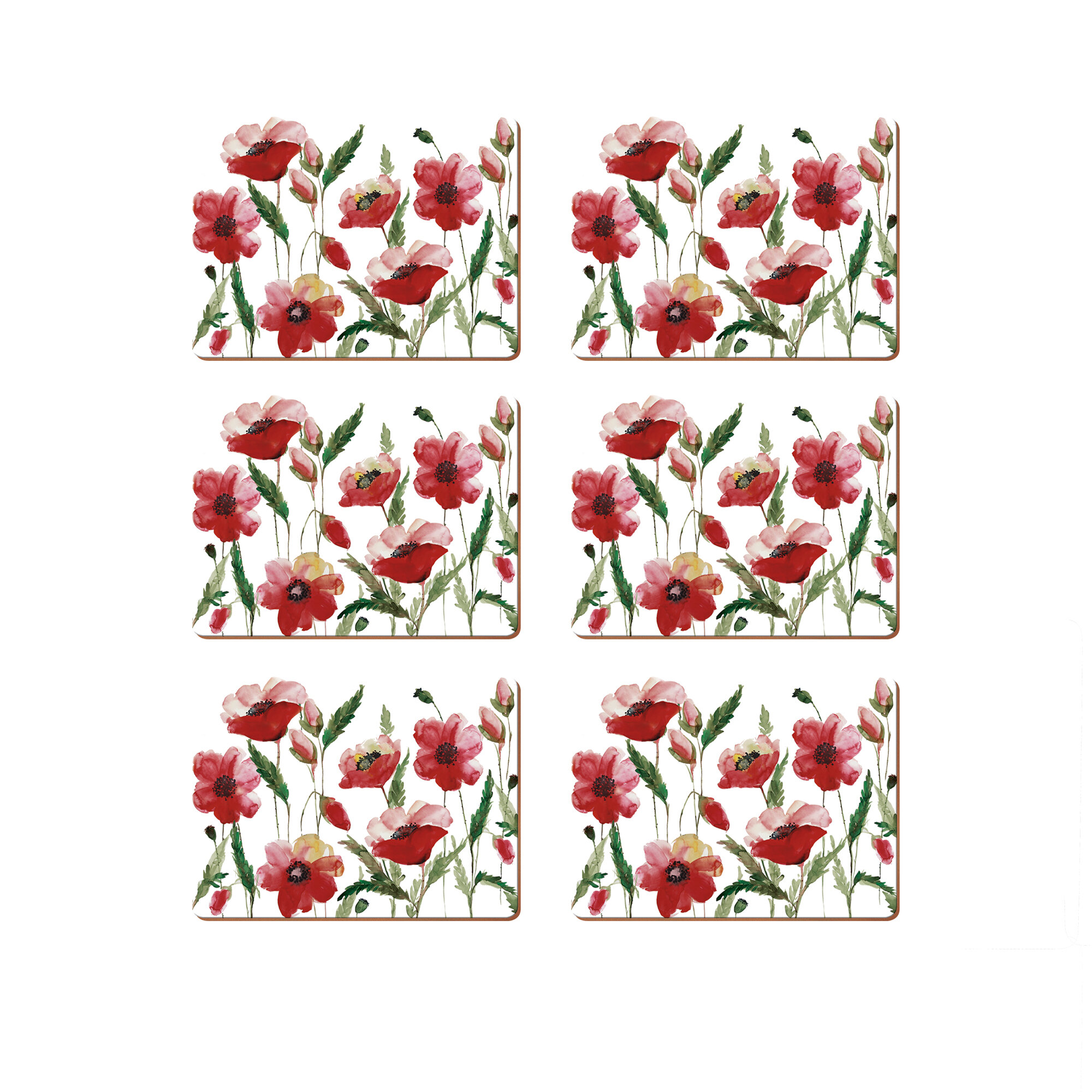 Set of 4 Poppy Flowers Placemats Dining Table Mats Luxury Floral Gift