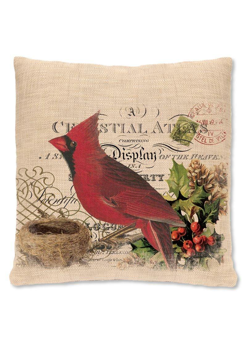 Heritage Lace Winter Garden Cardinal Throw Pillow