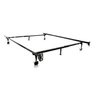 Hicklin Heavy Duty 6-Leg Adjustable Metal Bed Frame with Rug Roller