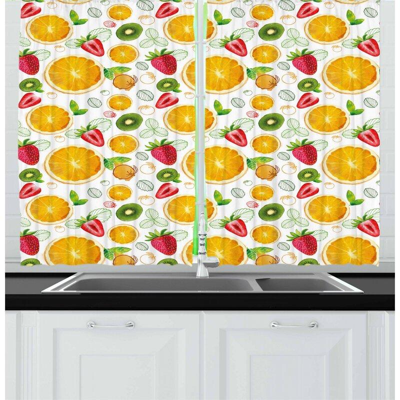East Urban Home Fruits Kitchen Curtain Wayfair