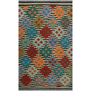 Read Reviews One-of-a-Kind Renita Kilim Hand-woven Wool Ivory/Black Area Rug By Isabelline