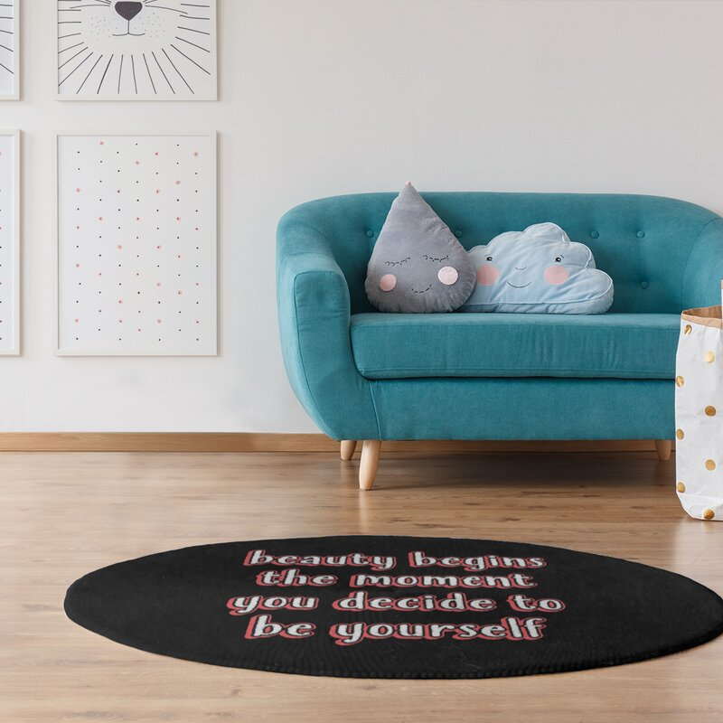 East Urban Home True Beauty Quote Chalkboard Style Poly Chenille Rug Wayfair
