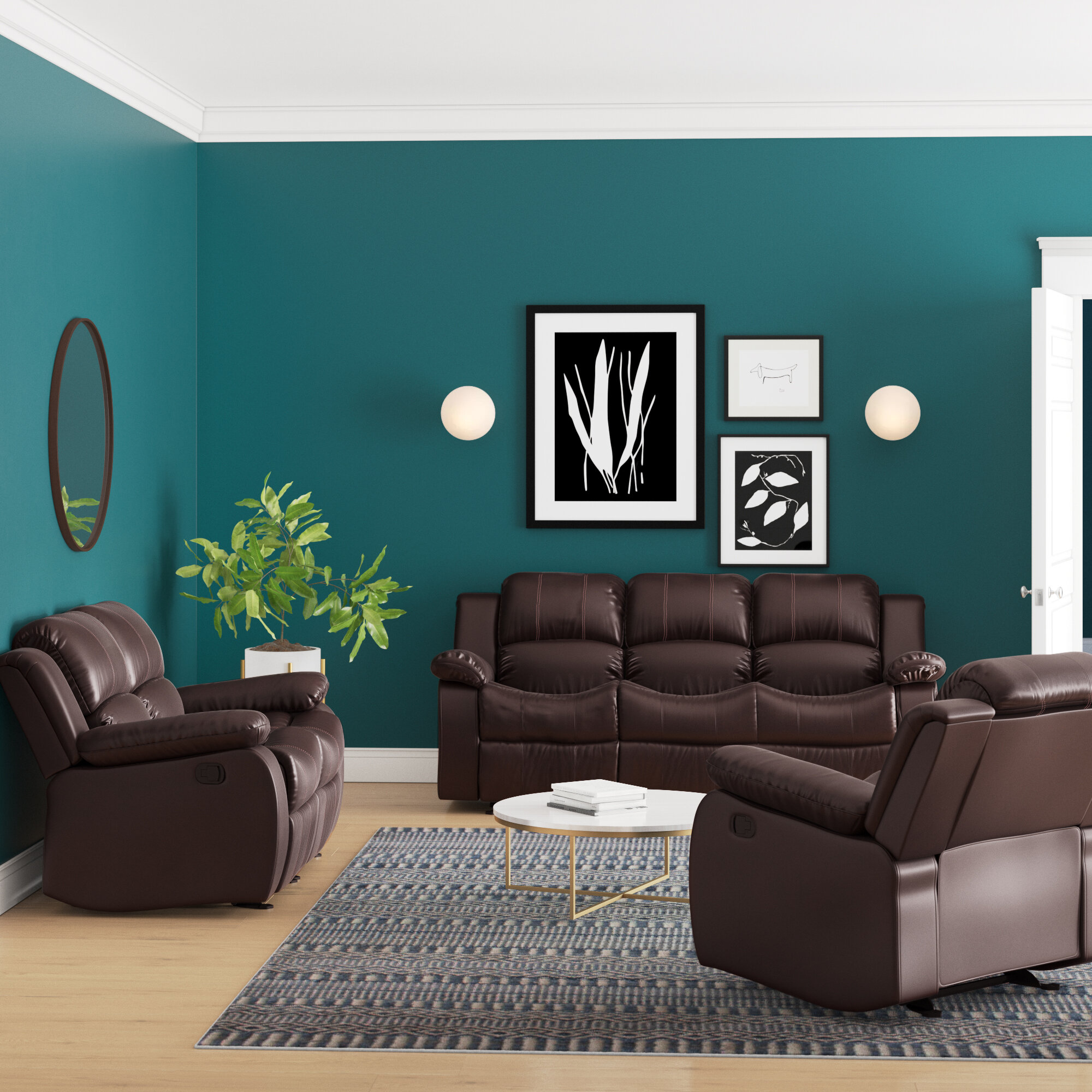 Image of: Latitude Run Bryce 3 Piece Faux Leather Reclining Living Room Set Reviews Wayfair