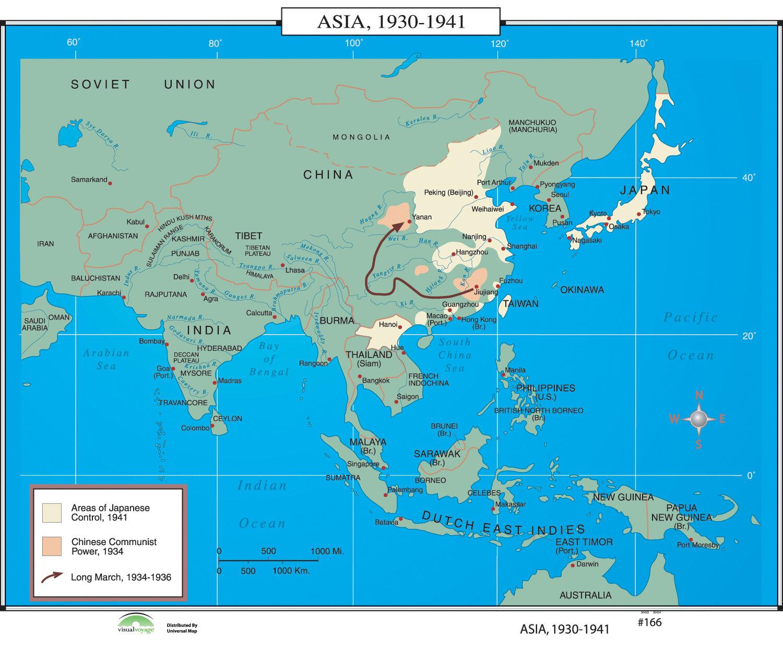 Map Of Asia 1930.Universal Map World History Wall Maps Asia 1930 1941 Wayfair Ca