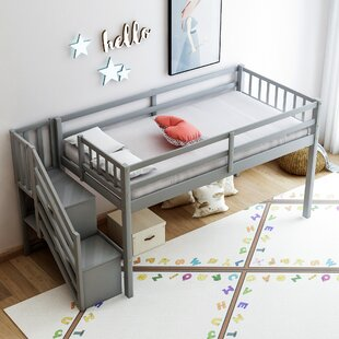 Achiles Twin Low Loft Bed with Shelves by Harriet Bee