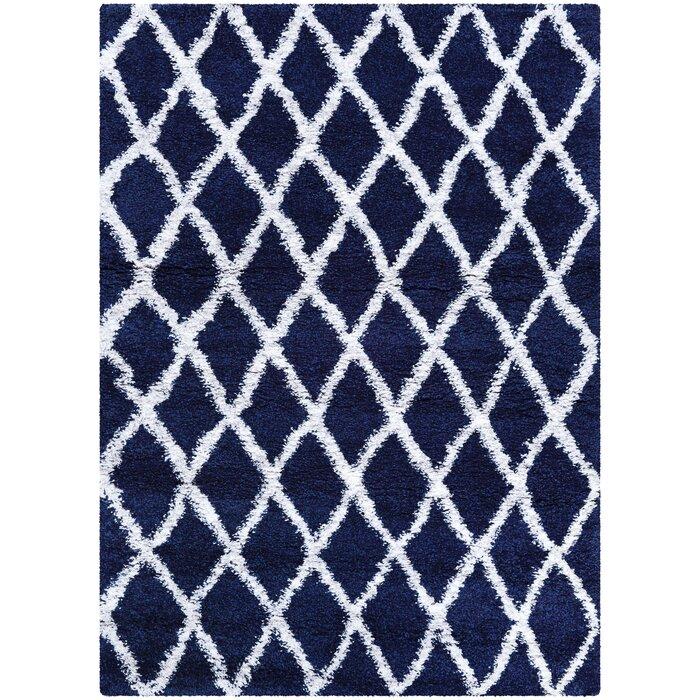 Cracraft Navy Blue White Area Rug