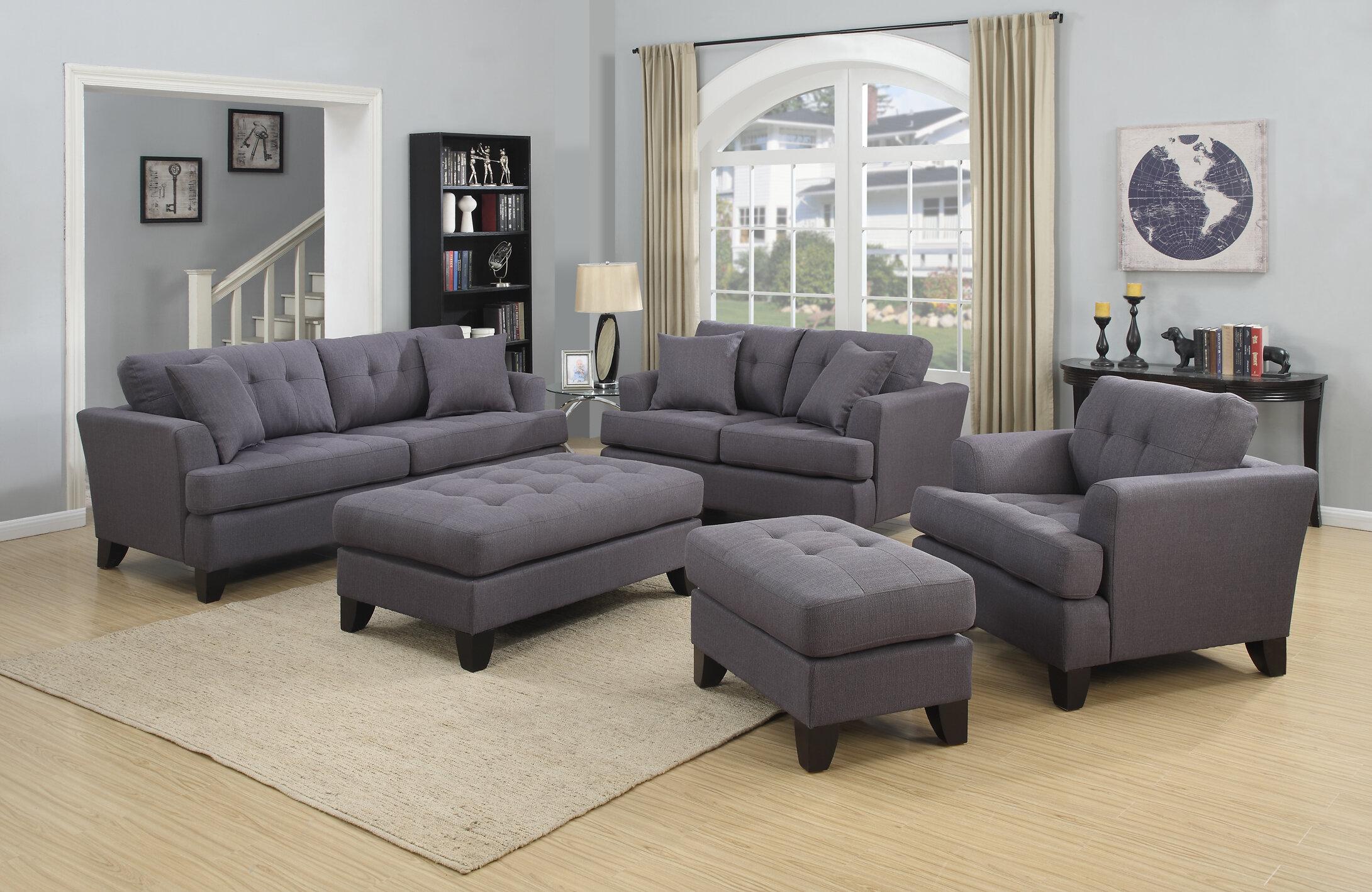 Alcott hill heger contemporary tufted living room set wayfair