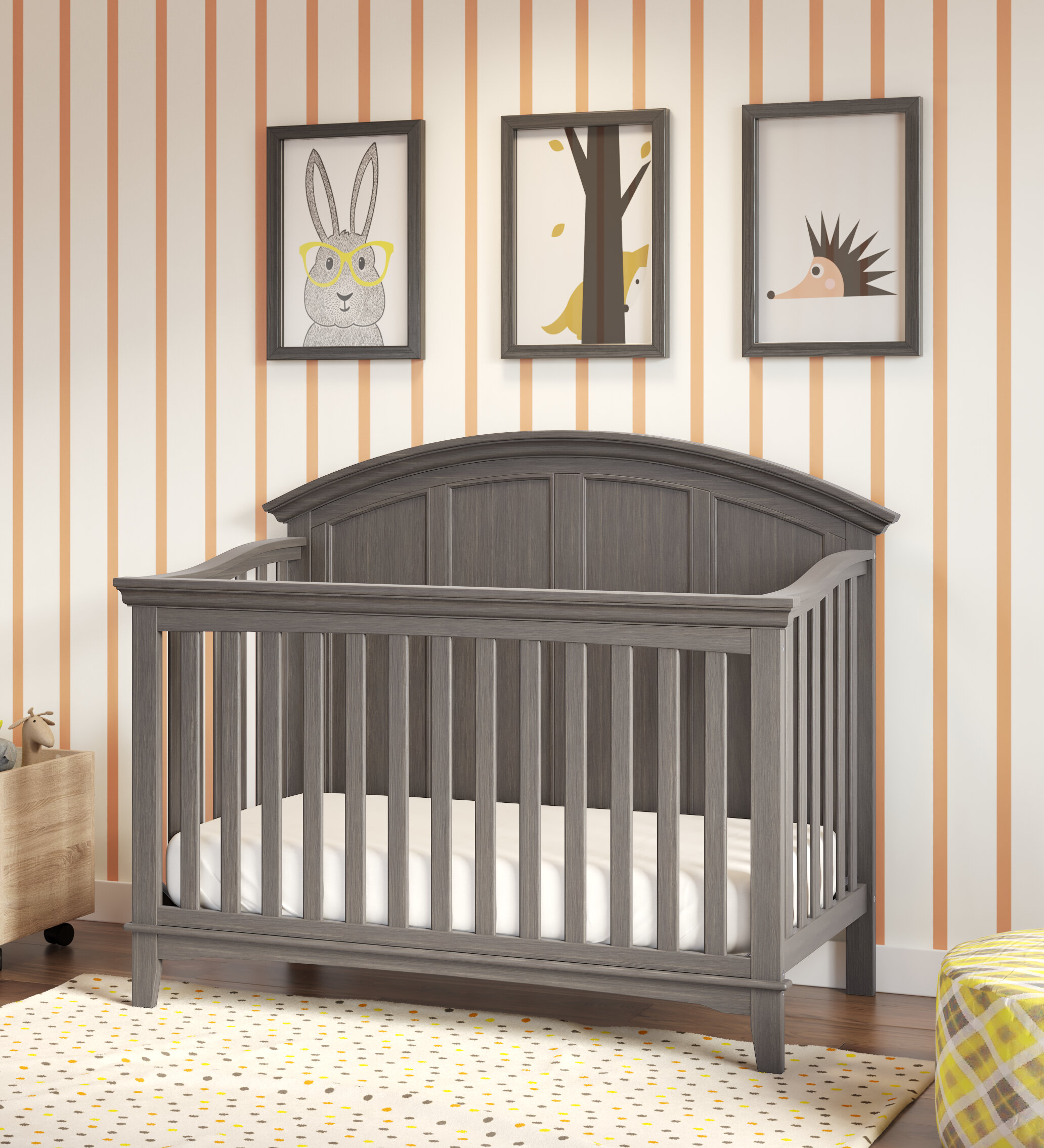 Grey Home Source Baby Cot Solid Pine Converts to Junior Bed with Teething Rails Height Adjustable