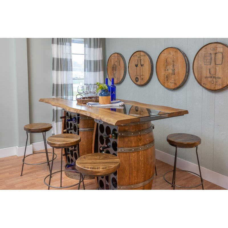 Loon Peak Andy Live Edge And Glass Top Double Barrel Bar Set Wayfair