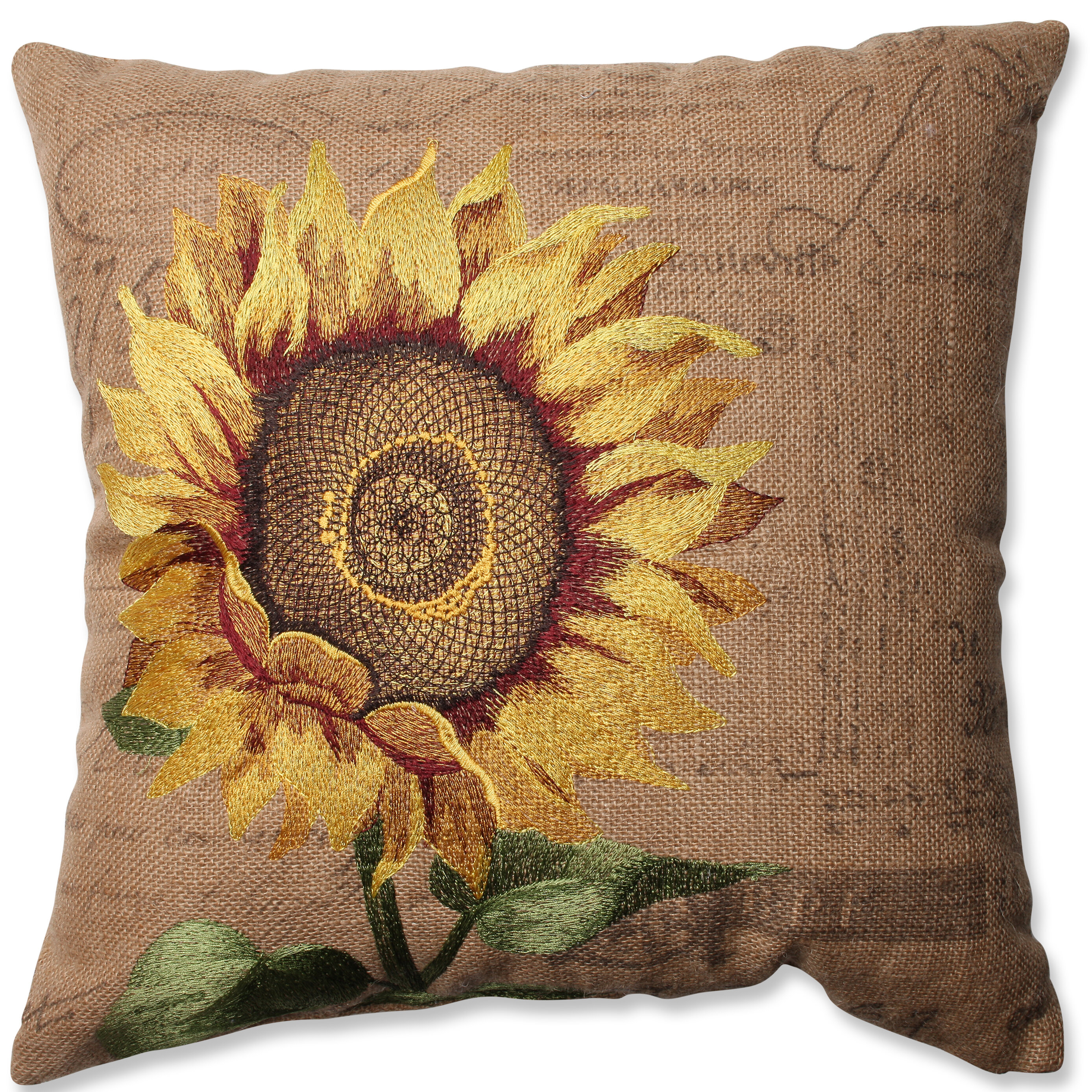 Pillow Perfect Sunflower Jute Throw Pillow Reviews Wayfair