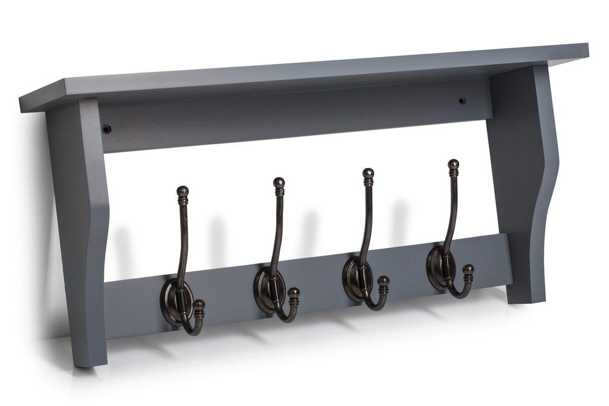 Heritage Shelf with 4 Coat Hooks