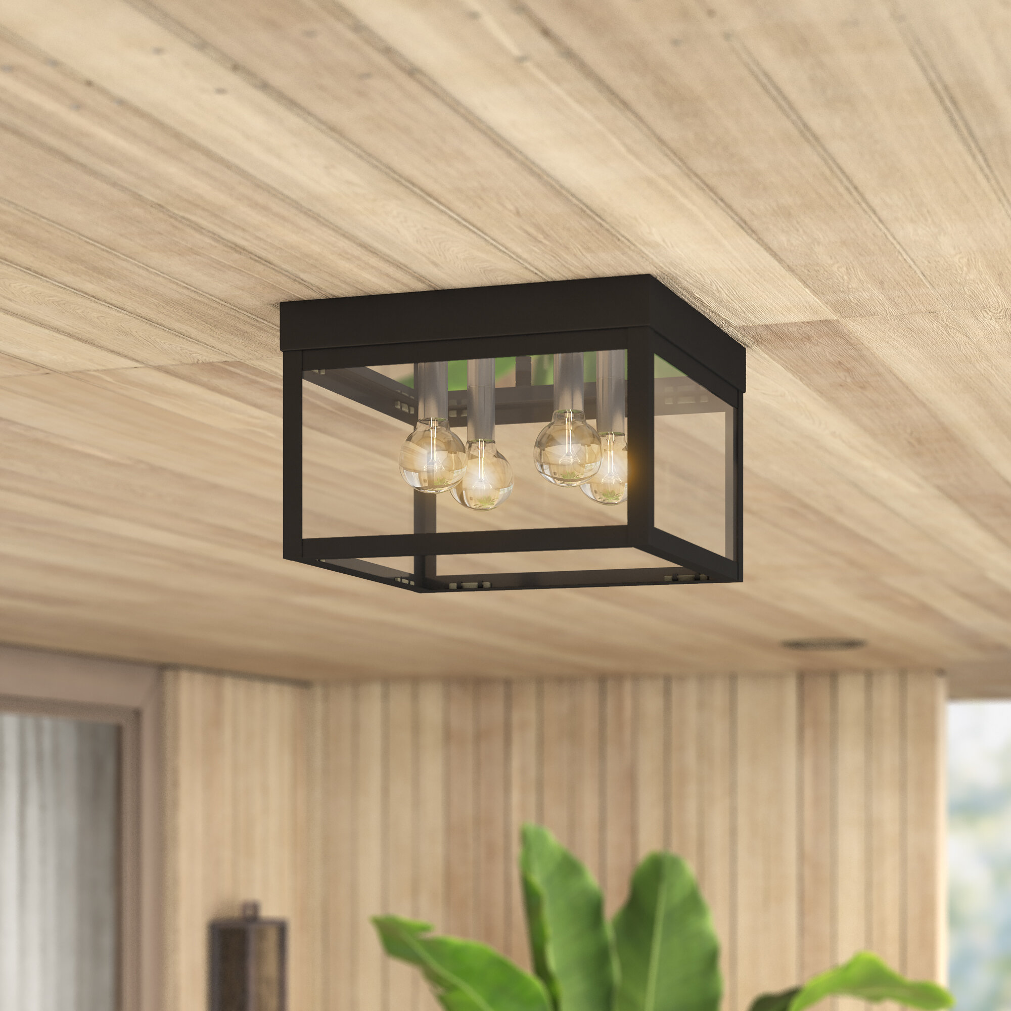 Demery 4 Light Outdoor Flush Mount
